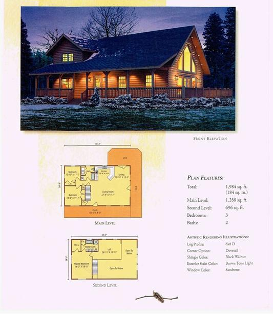 Morningdale Log Homes LLC floor plans - Aspen Hill