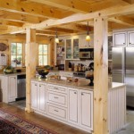 morningdale log homes, log home kitchen, white