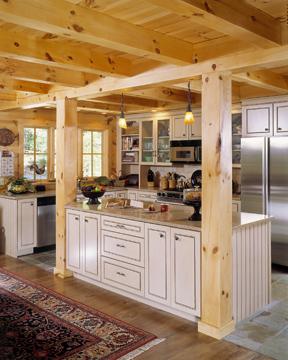 morningdale log homes, log home kitchen, white