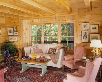 morningdale log homes, log home sitting room