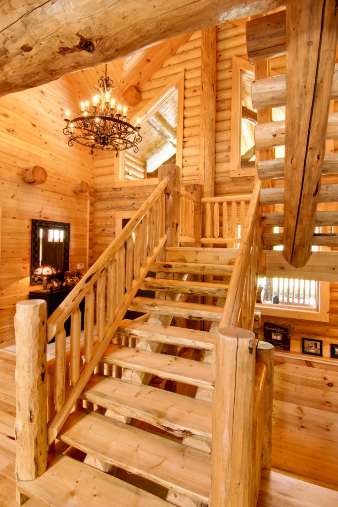 morningdale log homes, Barth-Log-Home-Stairs