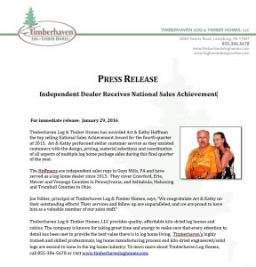 Morningdale Log Homes, LLC. Receives 4Q15 National Sales Award