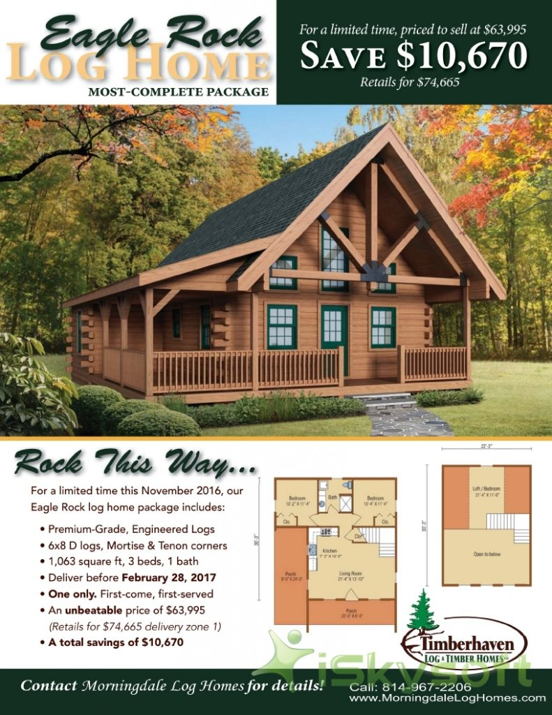 Our Specially Priced Log Home Package for November 2016 - the Eagle Rock