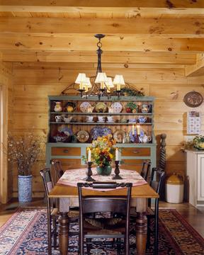 morningdale log homes, log home dining room