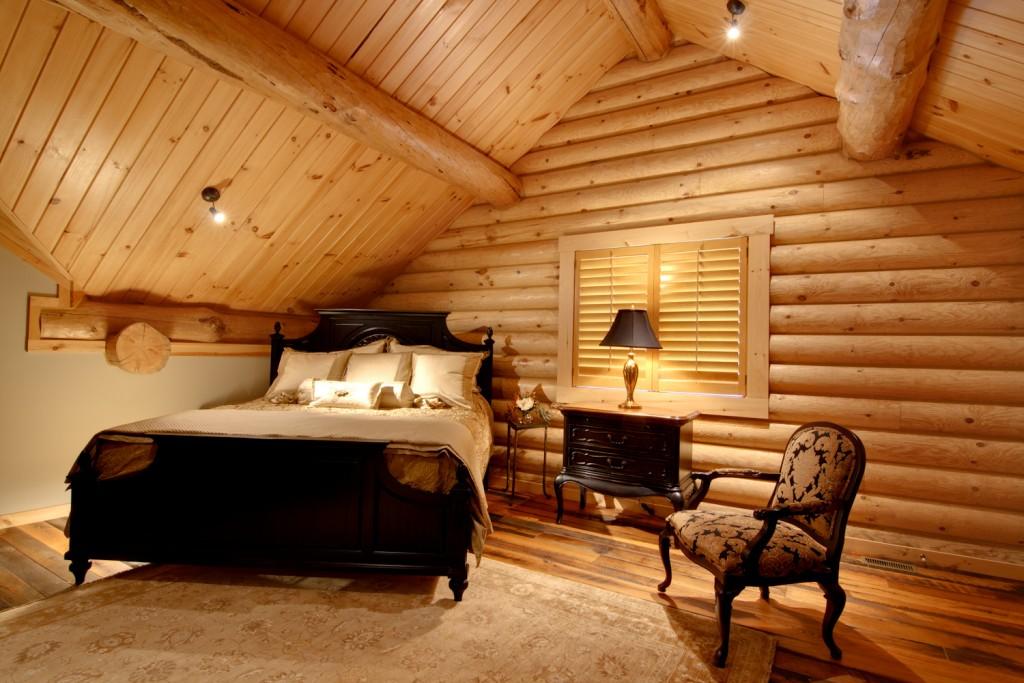 morningdale log homes, Barth-Log-Home-Bedroom-3