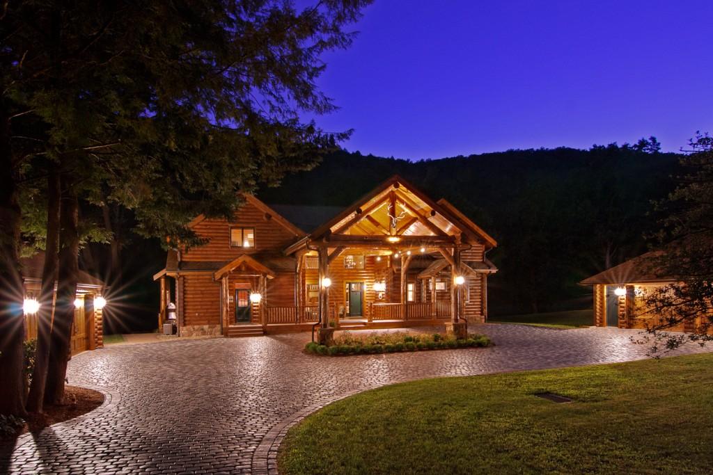 Morningdale Log Homes, log home exteriors-Twilight