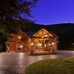 Morningdale Log Homes, log home exteriors-Twilight