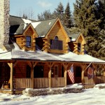 Morningdale Log Homes, log home exteriors, winter scene