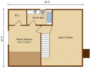 floor plan of home, valley view I, second level floor plan, timberhaven